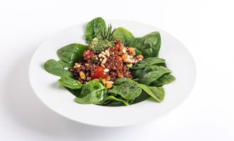 Receitas Nicul: Salada de Quinoa em cama de Espinafres
